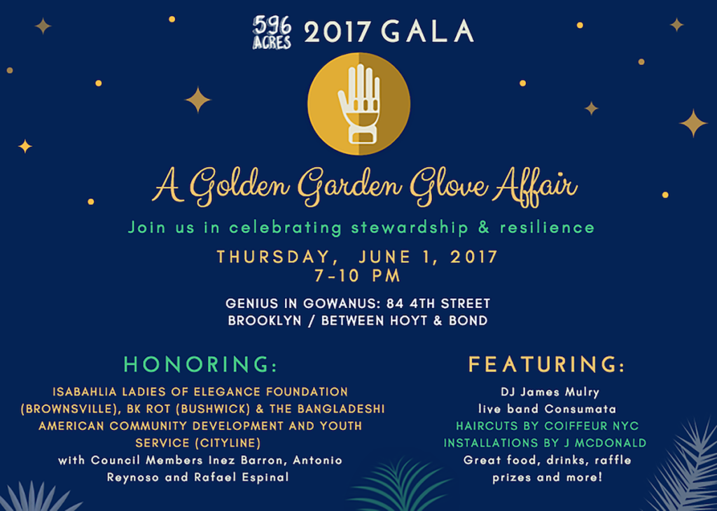 Join us at A Golden Garden Glove Affair to raise funds for 596 Acres!