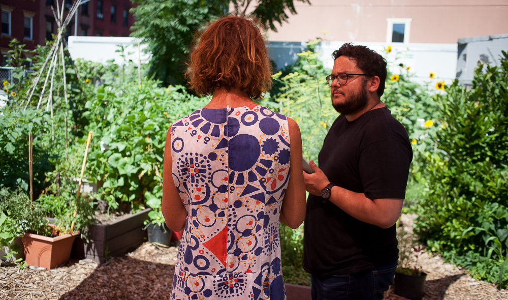 Francisco Miranda and gardener at Keap Fourth Community Garden
