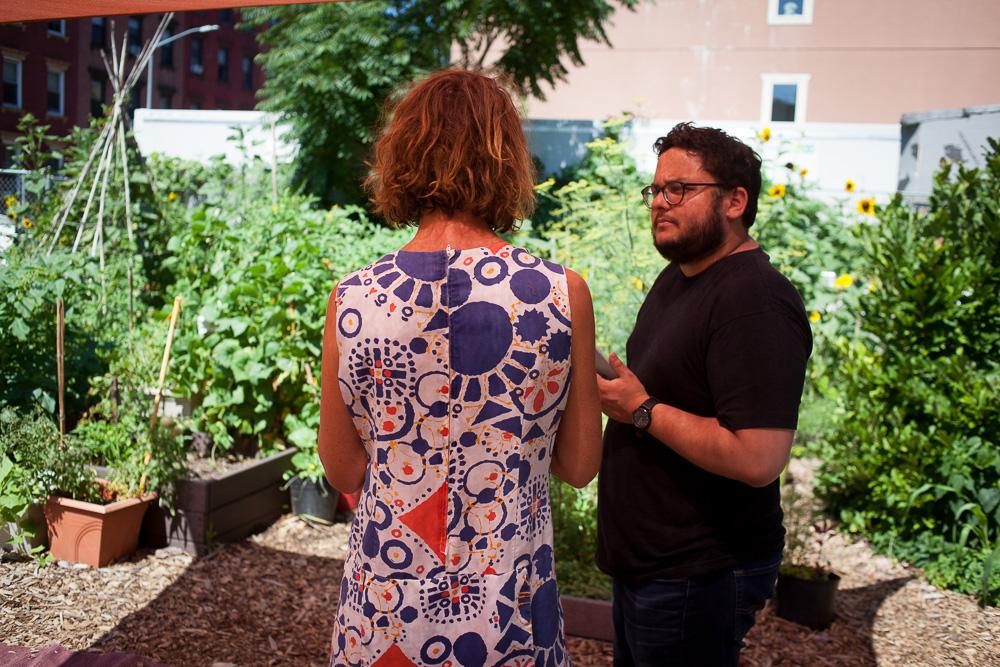 Francisco Miranda and gardener at Keap Fourth Community Garden