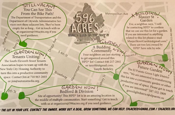 2012 map of opportunities for community land access on Williamsburg's Southside in Brooklyn