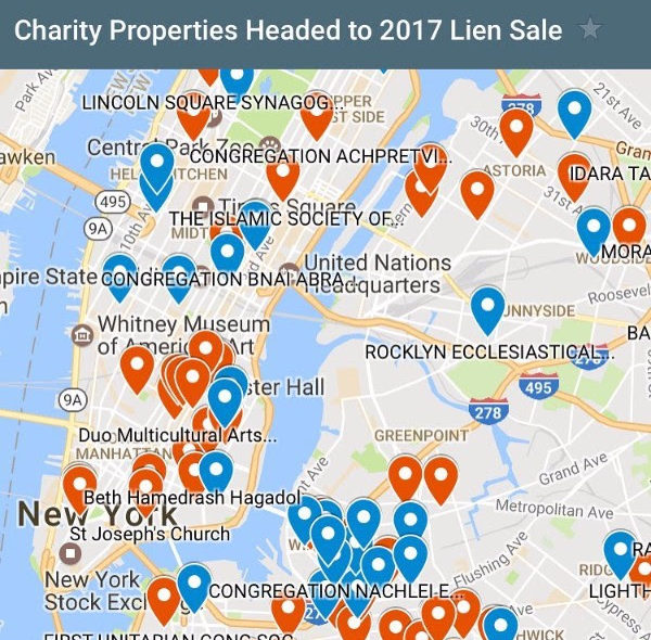Map of NYC properties owned by non-profits and at risk of being added to the 2017 tax lien sale