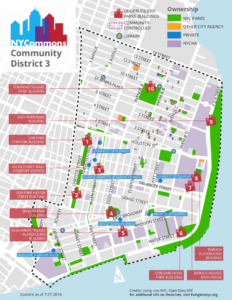 Map of underutilized Parks Department buildings in Community District 3 on the Lower East Side