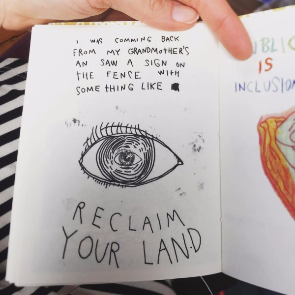 Page from the handmade book I'm So Lucky You Found Me: public land inside the city