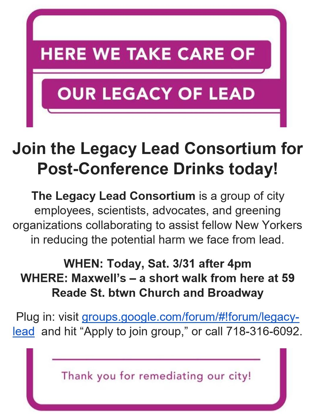 Legacy Lead Drinks after GreenThumb GrowTogether – 596 Acres