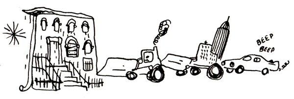 Illustration of bulldozers by Daniel Eizirik