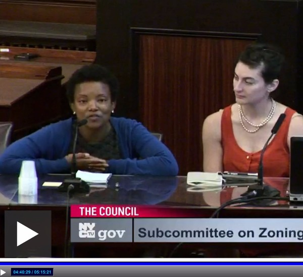 Allison testifies to City Council to save a City-owned lot in Far Rockaway from private development